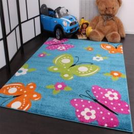 Kinderteppich Schmetterling Butterfly Design Türkis Creme Pink Grün Orange, Grösse:120x170 cm - 1