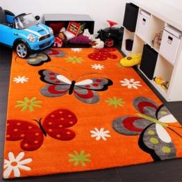 Kinderteppich Schmetterling Muster Kinderzimmerteppich in Orange Creme Grün Pink, Grösse:120x170 cm - 1