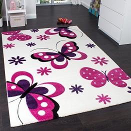 Kinderteppich Schmetterling Trendiger Teppich Butterfly Design Creme Pink, Grösse:160x230 cm - 1