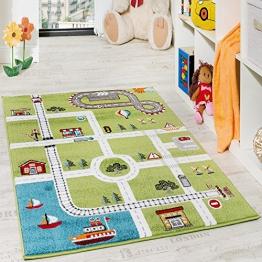 Kinderteppich Spielteppich City Hafen Straßenteppich Stadt Straße Grau Grün, Grösse:80x150 cm - 1