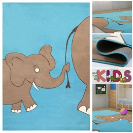 kinderteppich elefant blau haus deko ideen. Black Bedroom Furniture Sets. Home Design Ideas
