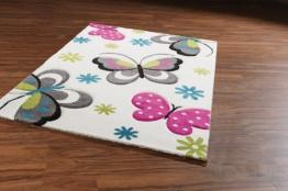 Kinderteppich Teppich für Kinder creme mit bunten Schmetterlingen Butterfly - 1