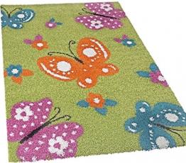 Kinderzimmer Shaggy Bunte Schmetterlinge Kinder Teppich Hochflor, Grün