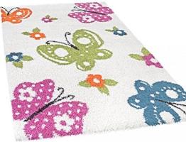Kinderzimmer Shaggy Schmetterlinge Kinder Teppich Hochflor, bunt - 1