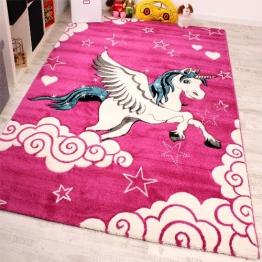 Kinderzimmer Teppich für Kinder Das Kleine Einhorn Pink Creme Türkis, Grösse:120x170 cm - 1