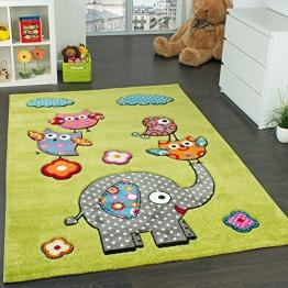 Kinderzimmer Teppich Niedliche Bunte Tierwelt Eule Elefant in Grün Blau Grau Rot, Grösse:120x170 cm - 1