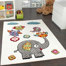 Kinderzimmer Teppich Niedliche Bunte Zootiere Eulen mit Elefanten Mehrfarbig, Grösse:80x150 cm - 1