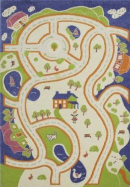 Lalee  347172016  Kinder - Jugend Teppich / Muster : Straße / Grün Blau Bunt / Konturen / Grösse: 100 x 150 cm - 1
