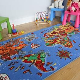 Lehrreiche UNTERHALTSAME farbenfrohe Weltkarte Spielteppich Länder & Meere Kinderteppich 95x200cm - 1