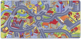misento 293308 Kinderteppich Straße Straßen Auto Spiel verschiedene Größen Auto Stadt, 95 x 200 cm, grau - 1