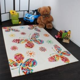 Moderner Kinder Teppich Butterfly Schmetterling Design Creme Bunt Top Qualität, Grösse:120x170 cm - 1