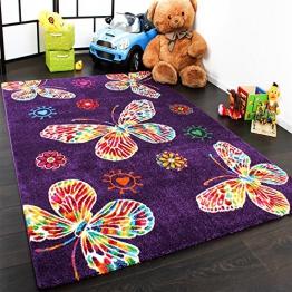 Moderner Kinder Teppich Butterfly Schmetterling Design in Lila Top Qualität, Grösse:80x150 cm - 1