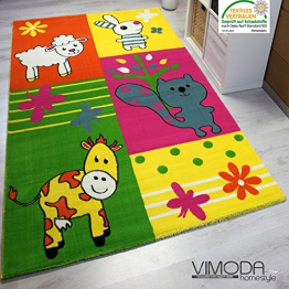 Moderner Kinderteppich Bauernhof Kinder Teppich Kuh Schaf in Bunte Farben - ÖKO TEX Zertifiziert, Maße:80 cm x 150 cm - 1