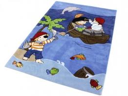 Pirat | Piraten HEVO ® Handtuft Teppich | Handtuft Kinderteppich | Spielteppich blau Öko Tex 100 120x180 cm - 1