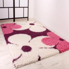 Shaggy Teppich Hochflor Langflor Blumen Muster in Lila Pink Creme, Grösse:160x220 cm - 1