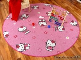 Spiel Kinderteppich Rosa Pink Hello Kitty Rund in 7 Größen, Größe:100 cm Rund - 1