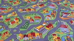 Spielteppich City Autoteppich Gebäude Straßen Häuser gelbe Kettelung 100 x 200 cm - 1