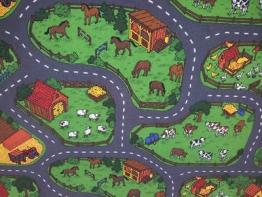 Spielteppich Farm Bauernhof Kühe Schafe Straßen Pferde Häuser 140 x 200 graue Kettelung - 1