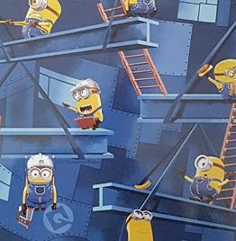 """Spielteppich Kinderteppich Kinder Teppich """"Minions""""-Factory blau 160 x 200 cm blaue Einfassung - 1"""