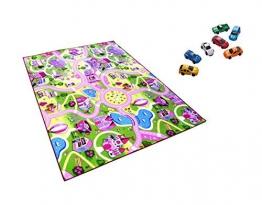 Sweet Girl Town Spielteppich Strassenteppich Kinderspielteppich Mädchen Teppich + 1 GRATIS ZUGABE, 100 x 150 cm - 1
