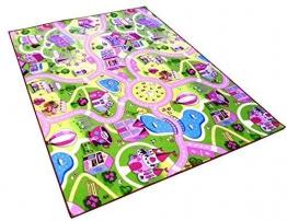 Sweet Girl Town Spielteppich Strassenteppich Kinderspielteppich Mädchen Teppich, 175 x 200 cm - 1