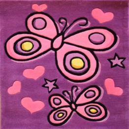 Teppich Kiddy Play - Schmetterling - Violett - 90 x 90 cm - 1