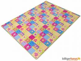 Teppich Kinderteppich Blumen Schmetterling Teppich Patchwork 133 x 180 cm bunt grüne Kettelkante - 1