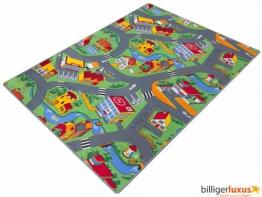 Teppich Kinderteppich Straßen Spielteppich Straßenteppich 133 x 180 cm grau - 1