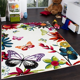 Teppich Kinderzimmer Schmetterling Bunt Kinderteppich Butterfly Creme Mehrfarbig, Grösse:160x220 cm - 1
