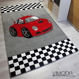 VIMODA Moderner Kinder Teppich Car Auto Rennwagen Kurzflor Frisee versch Größen - ÖKO TEX Zertifiziert, Maße:80 cm x 150 cm - 1